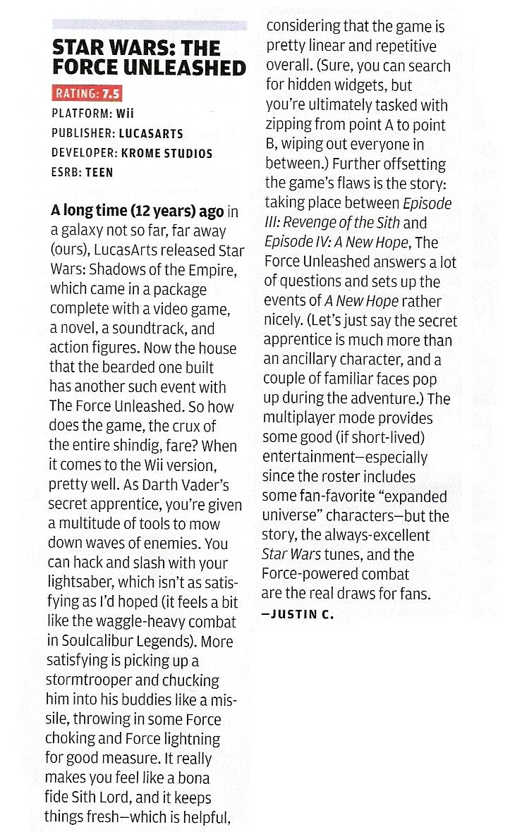 NP: Star Wars The Forced Unleashed Review Scan