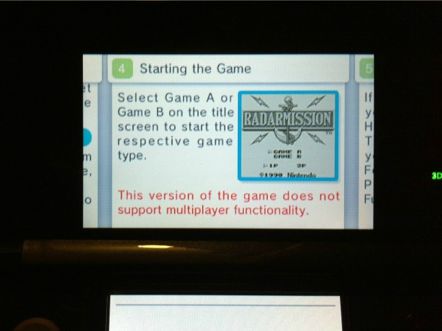No local multiplayer for 3DS VC games….