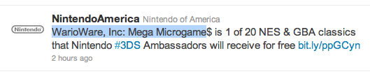 WarioWare, Inc: Mega Microgame announced as one of the 3DS Ambassador games