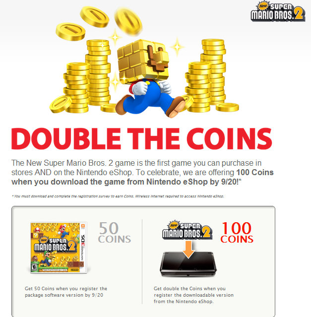 Get double the coins for New Super Mario Bros  2 download