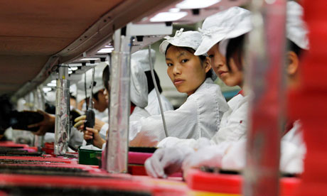 Foxconn factory workers in China's Guangdong province