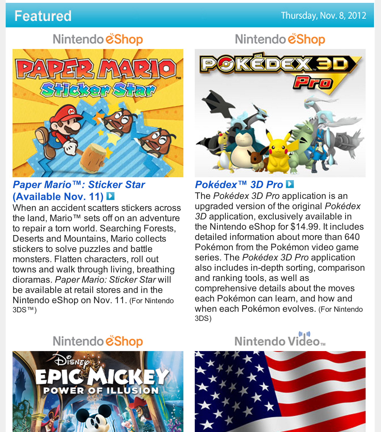 Nintendo Download – Nov. 8, 2012