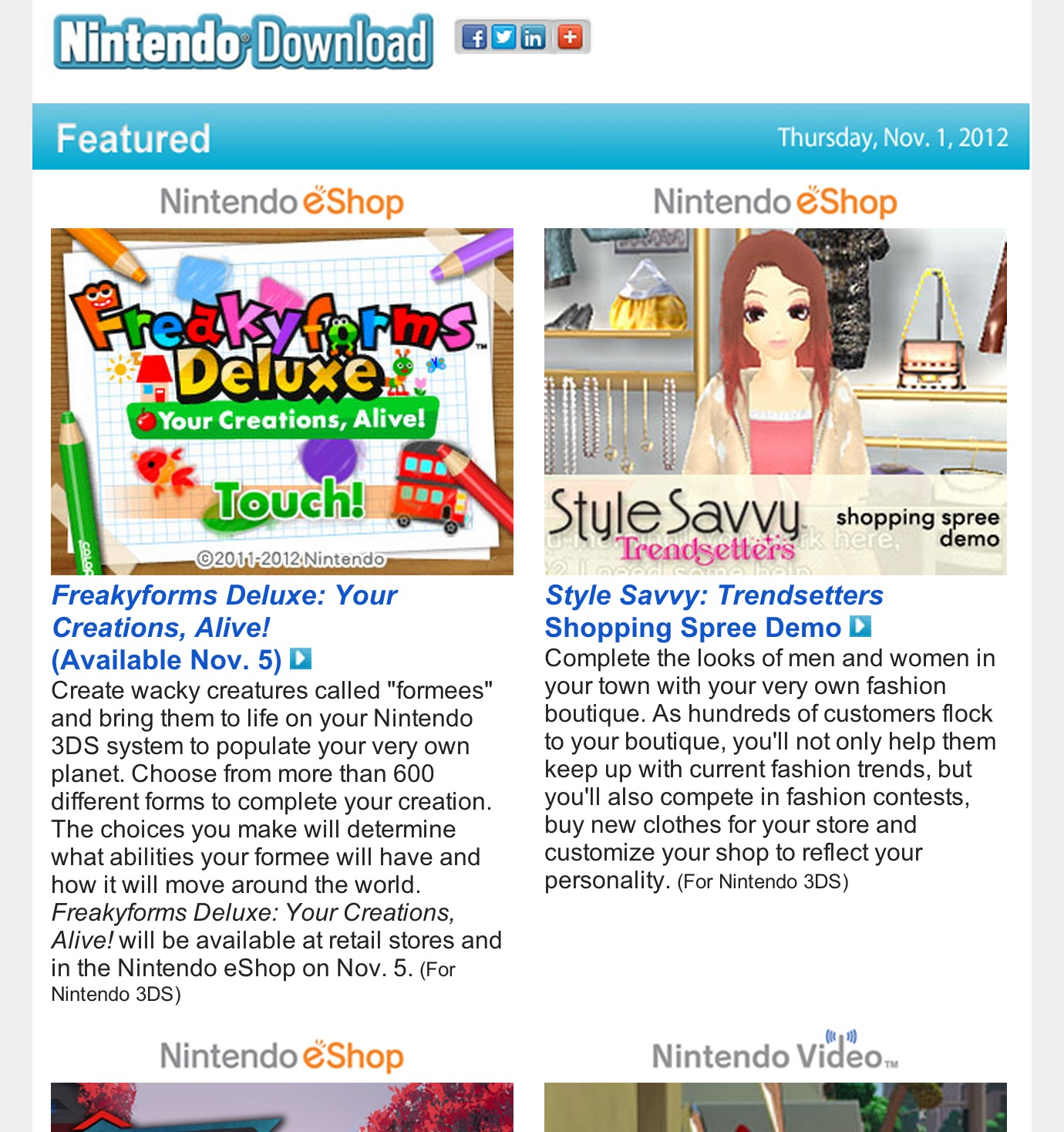 Nintendo Download – November 1, 2012, Freakyforms Deluxe Available Nov. 5