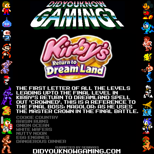 DidYouKnowGaming - Kirby's Return to Dreamland