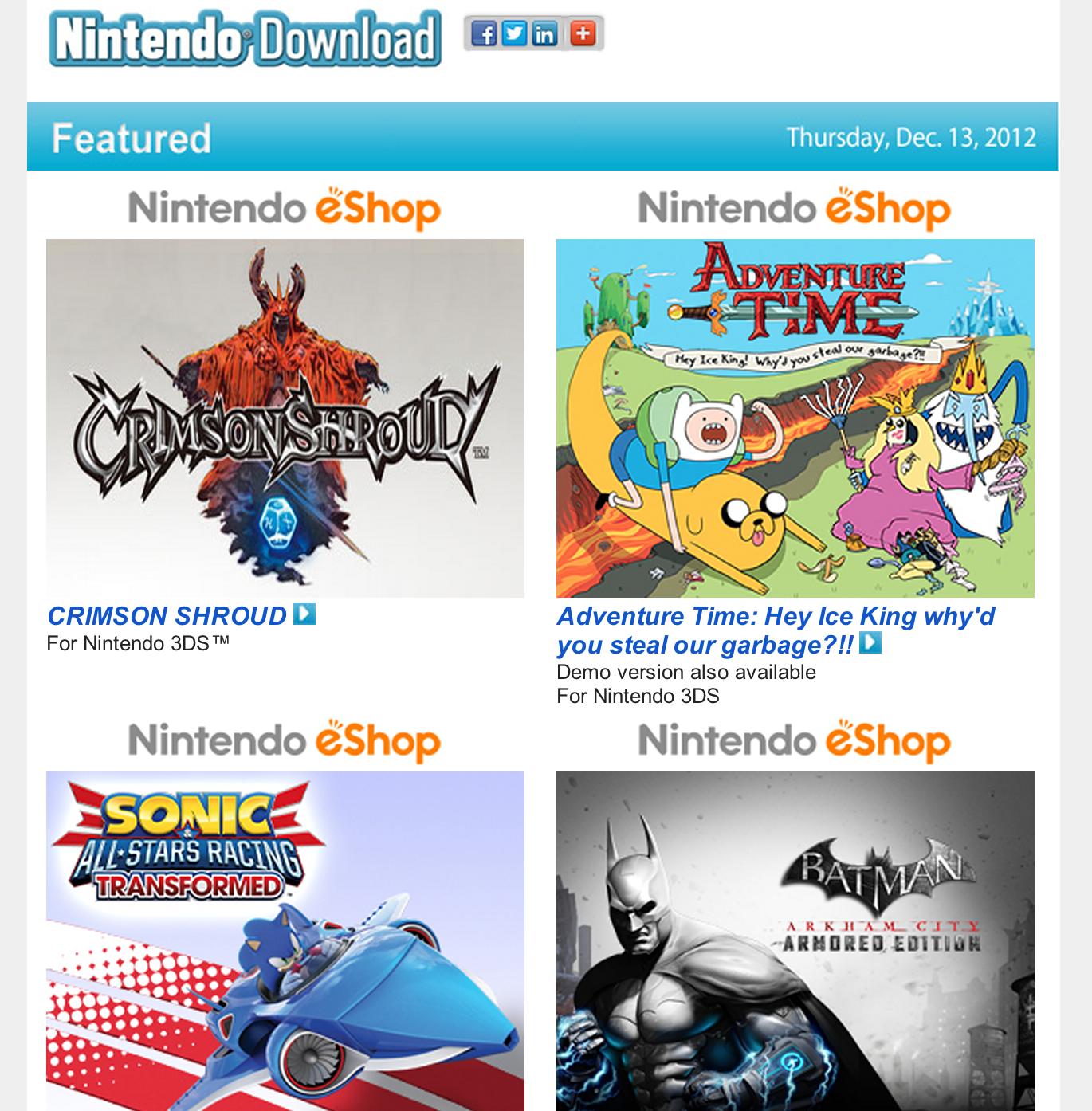 Nintendo Download – Dec. 13, 2012