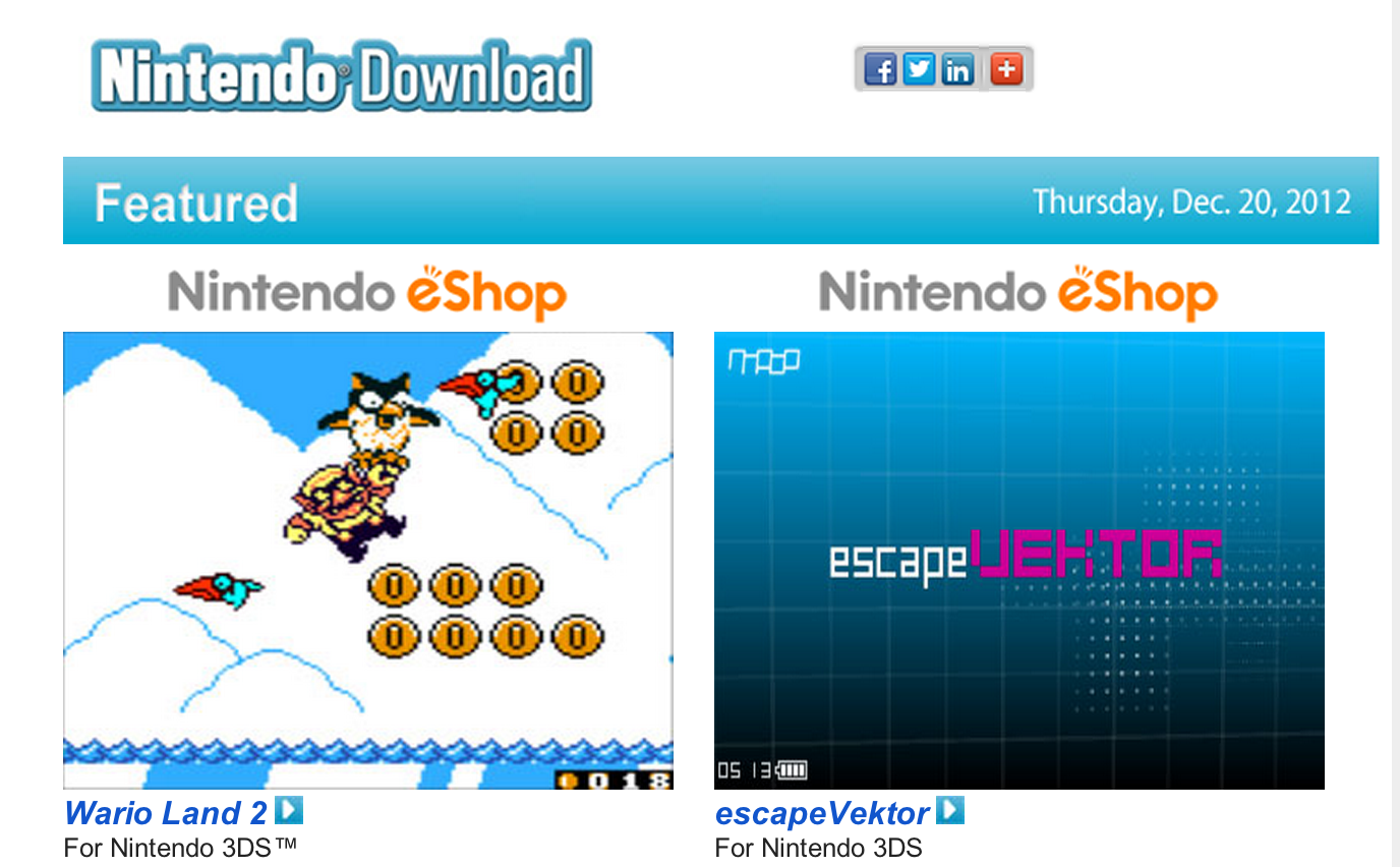 Nintendo Download – Dec. 20, 2012