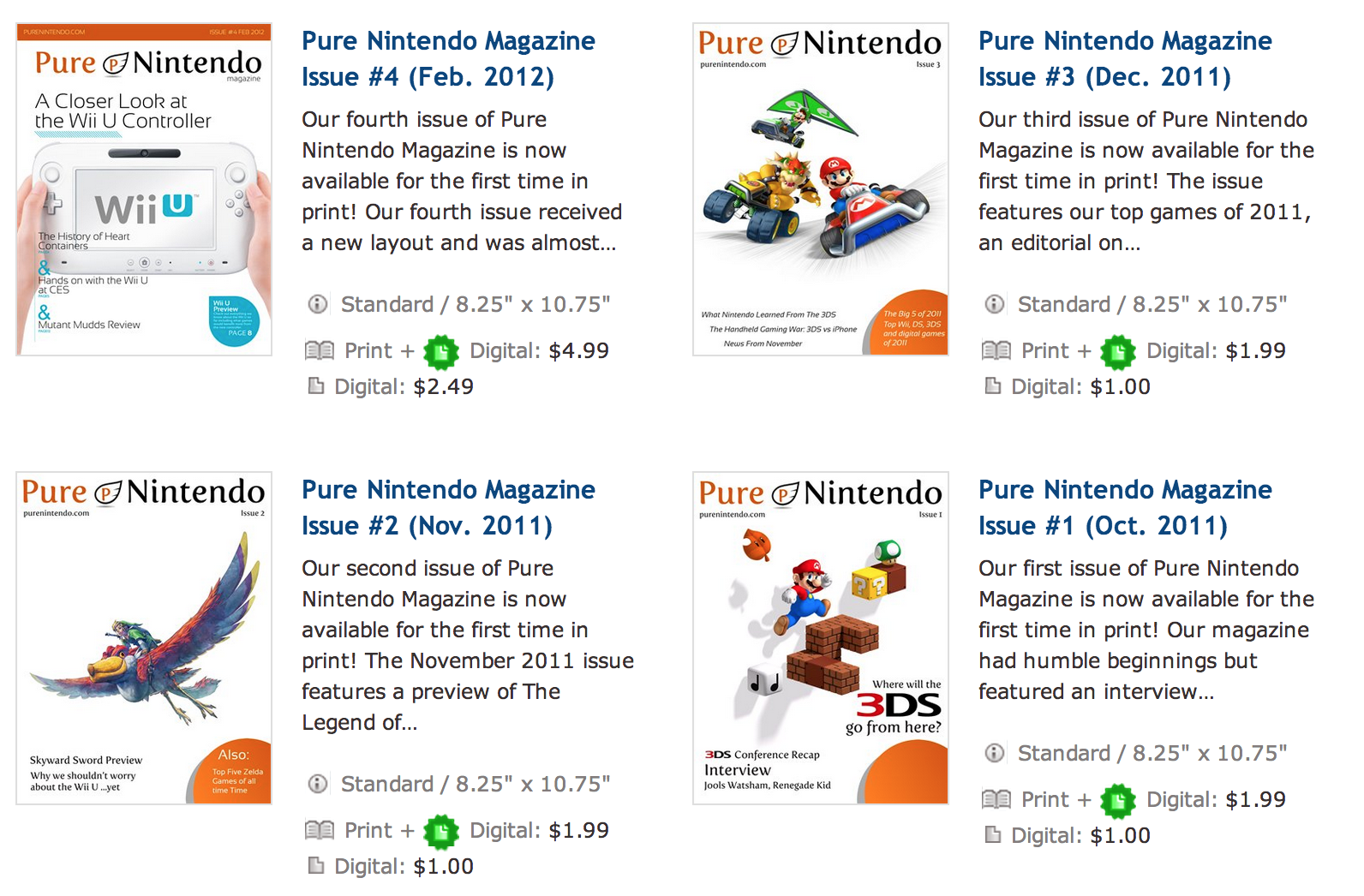 Pure Nintendo Magazine Issues 1-4 Now Available in Print