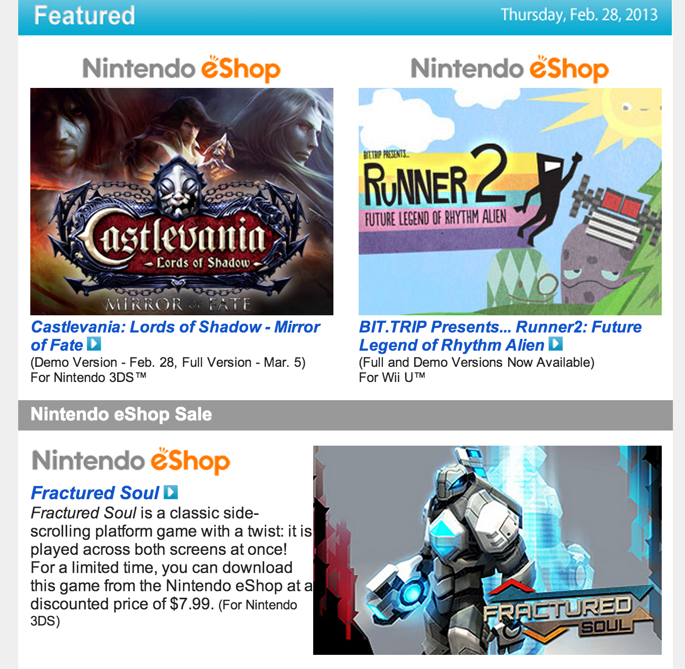 Nintendo Download – Feb. 28, 2013