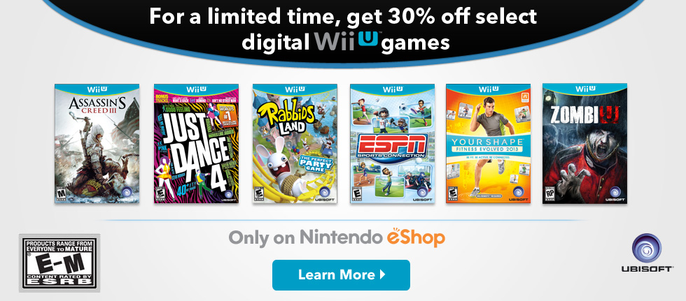 Ubisoft 30% Off Sale on Wii U eShop This Week