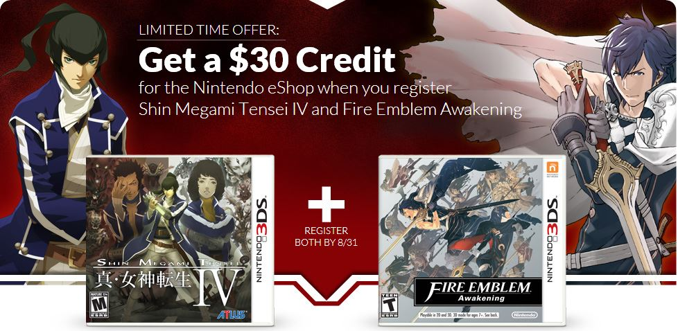 Buy SMT 4 and Fire Emblem Awakening and get $30 eShop credit