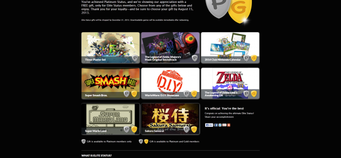 Club Nintendo Platinum and Gold status awards announced
