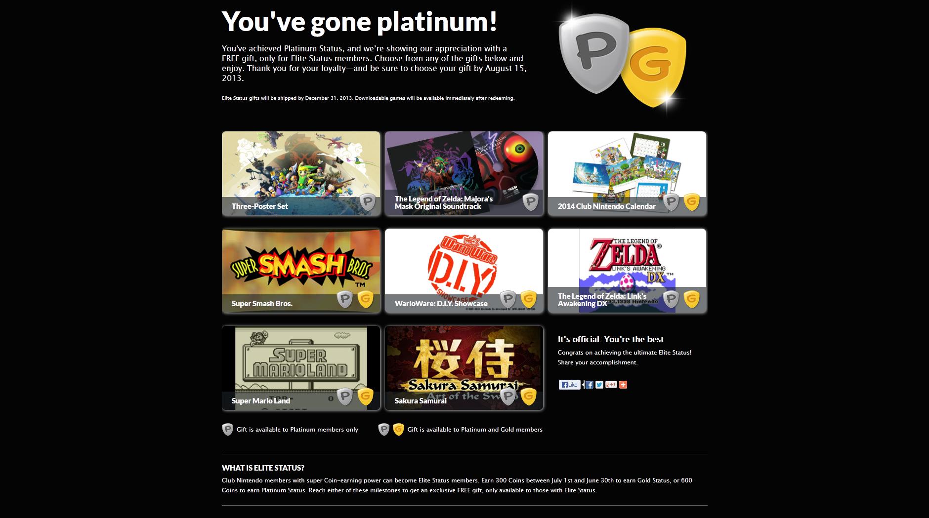 Club Nintendo Platinum and Gold status awards announced