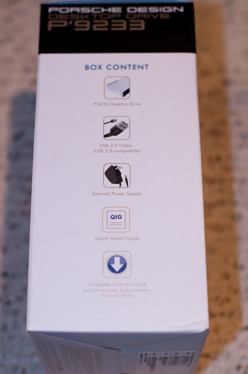 LaCie P'9233 Side of Box