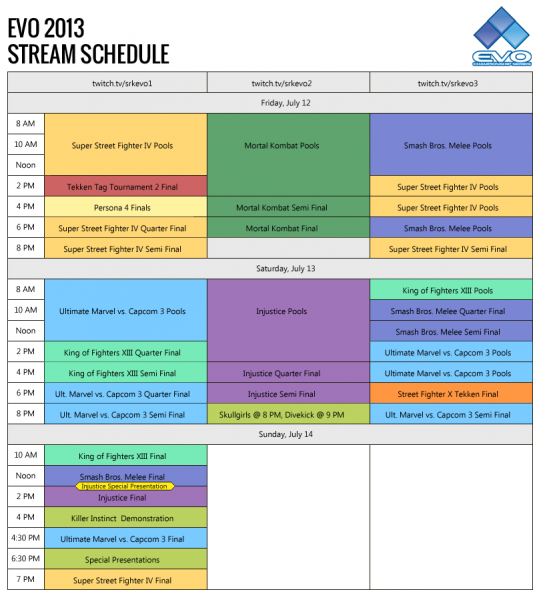 evo-stream-schedule