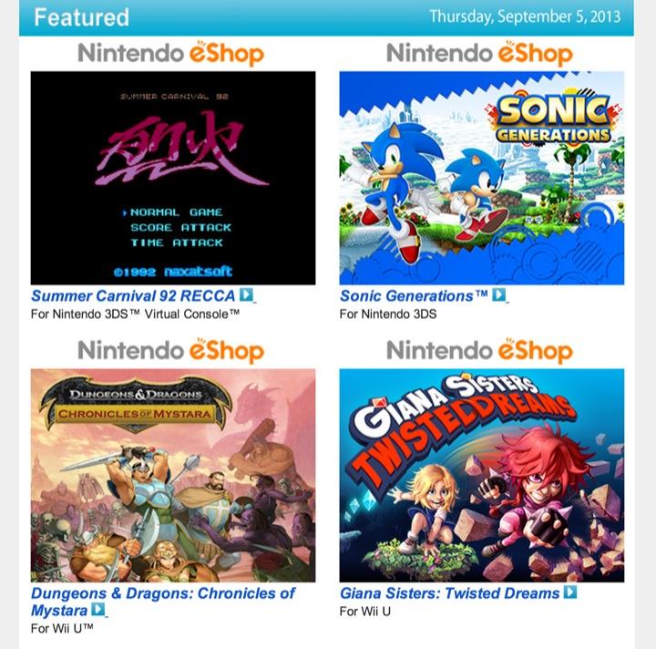 Nintendo Download – September 5, 2013