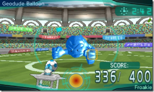 Okay, yeah, the mini-game is kicking soccer balls at a Geodude balloon