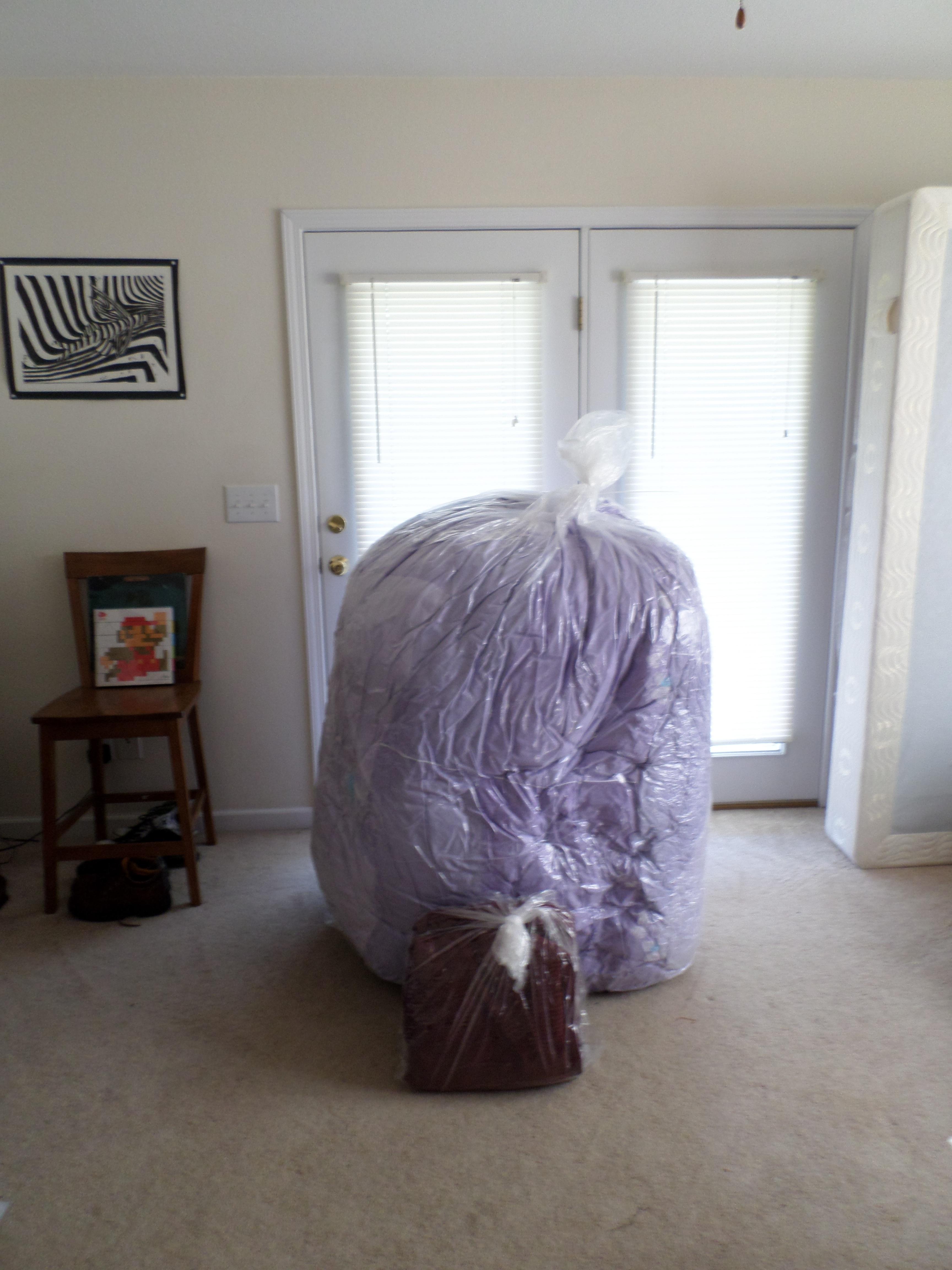 Inside the plastic cocoon, the Gigantor sleeps.