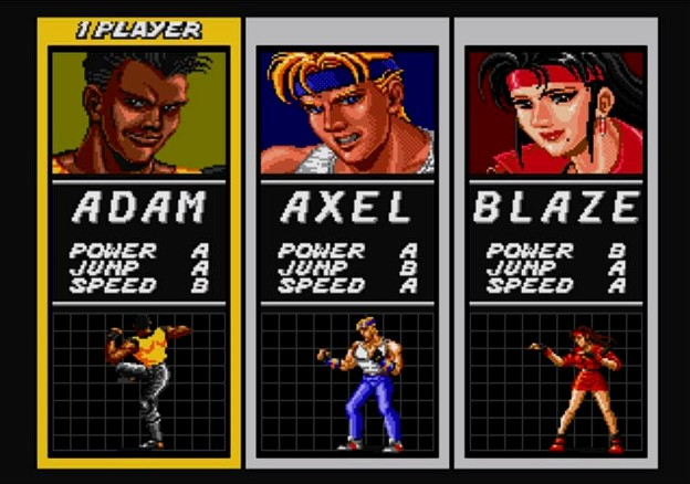 Choosing between Adam, Axel and Blaze will determine your speed, jumping ability and power, as well as your move set.