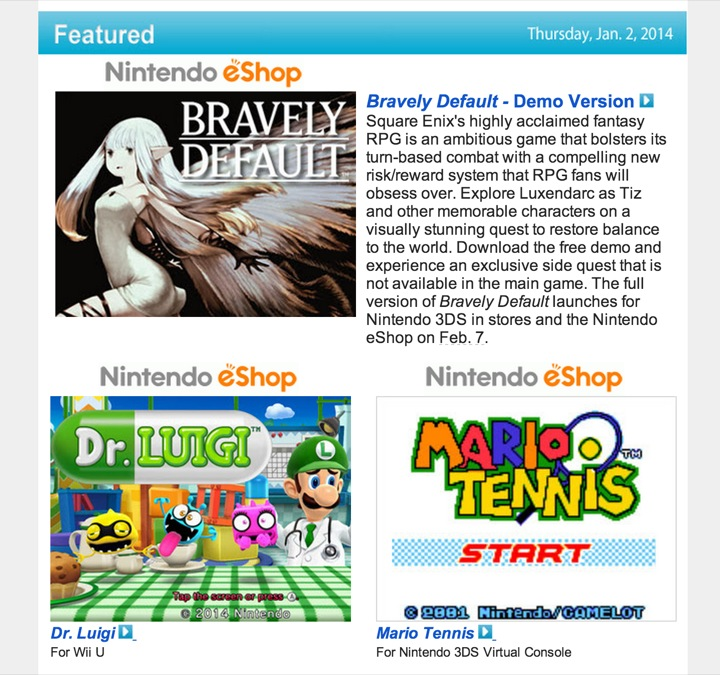 Nintendo Download – January 2, 2014