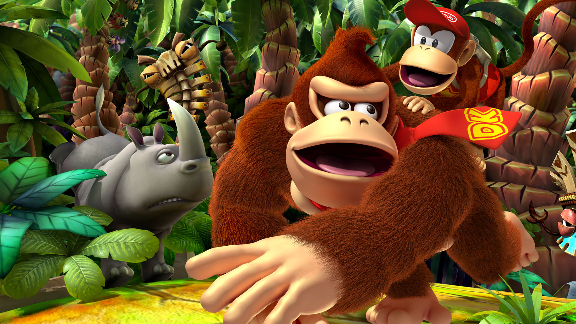 Donkey Kong Plays 3DS In Tropical Freeze Idle Animation