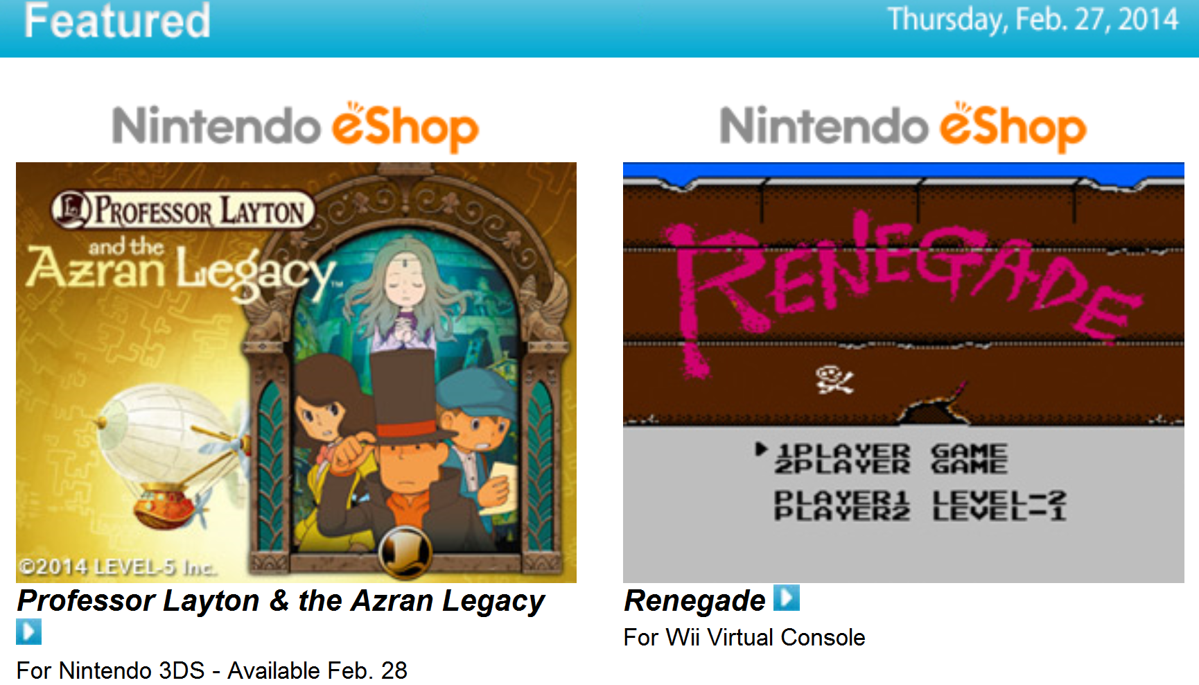 Nintendo Download – February 27, 2014