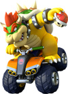 Bowser riding an ATV in Mario Kart 8