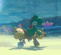 Yoshi goes underwater in Mario Kart 8