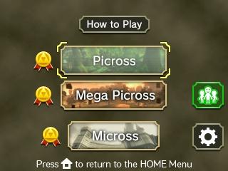 Zelda Picross - menu